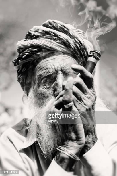Senior Indian Man Smoking Pipe Real People Portrait BW India
