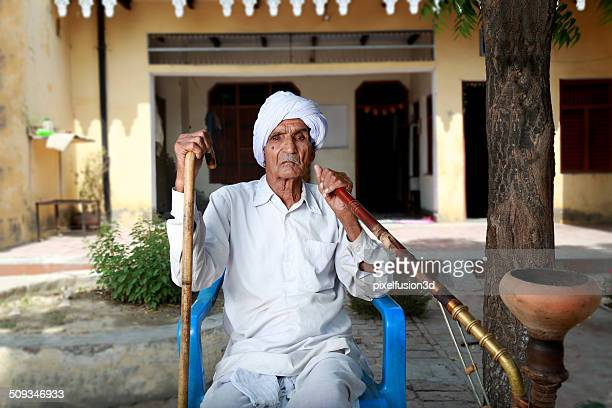 senior indian men portrait - haryana stock photos and pictures