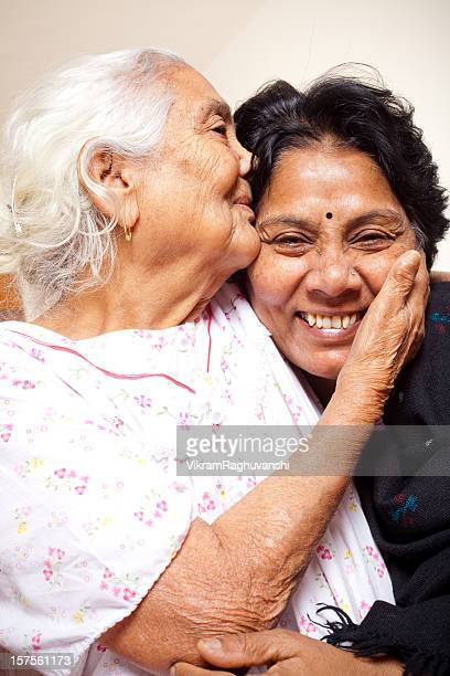 Senior Indian mother and daughter