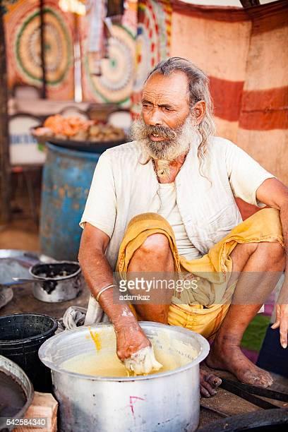 Senior Indian Naan Vendor at Pushkar Camel Fair