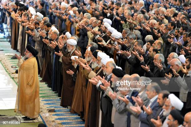 Senior Iranian cleric Ahmad Khatami leads Friday prayer in Tehran Iran on January 5 2018