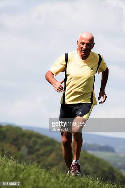 Senior is jogging