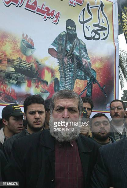 Senior Islamic Jihad leader Nafez Azam attends an antiIsrael rally organized by the radical group in the southern Gaza Strip city of Rafah 10 March...
