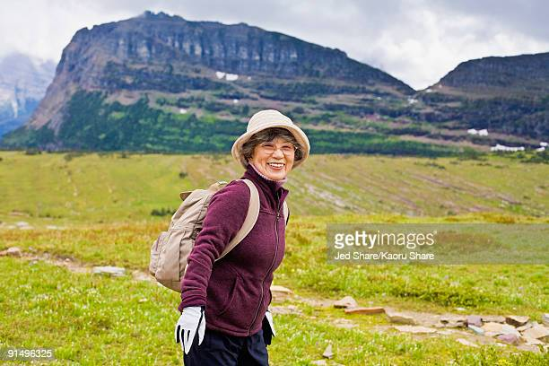 Senior Japanese woman hiking