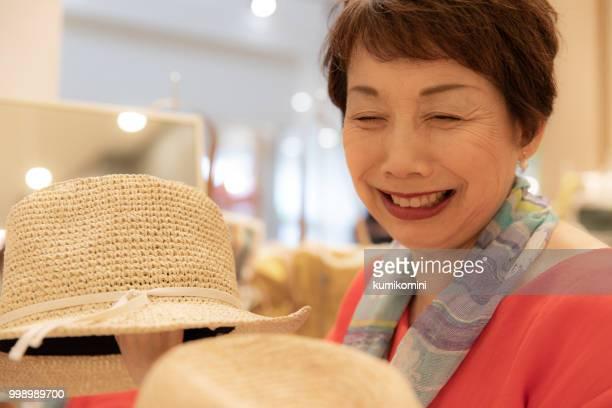Senior Japanese woman shopping