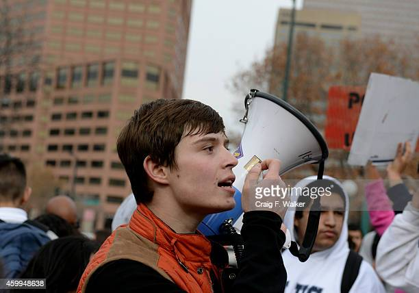 Senior Jose Romero addresses the 400 students from Abraham Lincoln High School after marching to the Capitol in Denver CO on December 04 2014...