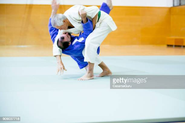 senior judo fighter performing a takedown - anti gravity stock photos and pictures