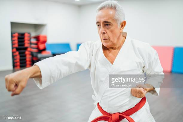 senior karate master performing combat techniques - martial arts stock pictures, royalty-free photos & images