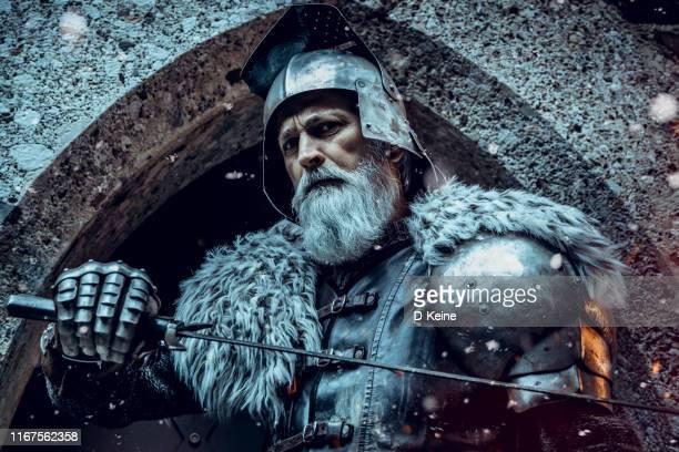 caballero mayor usando ropa tradicional con espada - medieval fotografías e imágenes de stock