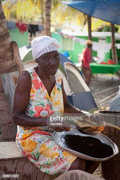 Senior lady cooking coffee