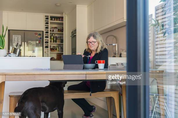 senior lady eating breakfast whilst checking the news - eating stock pictures, royalty-free photos & images