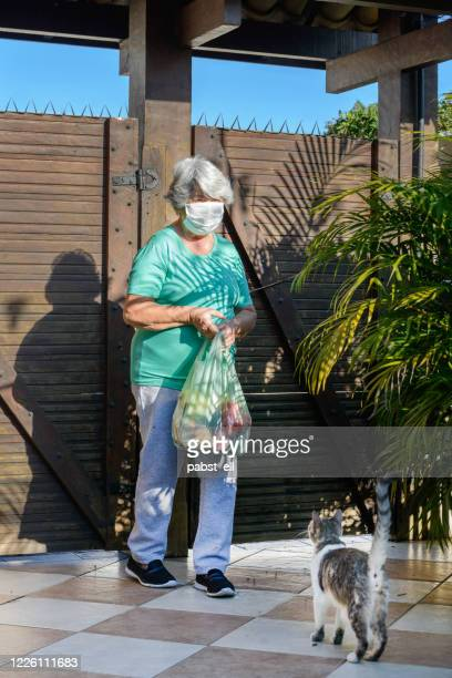 senior lady holding delivered groceries quarantine - cat face mask stock pictures, royalty-free photos & images