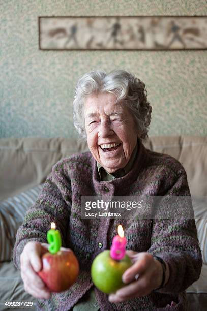 Senior lady laughing about her age
