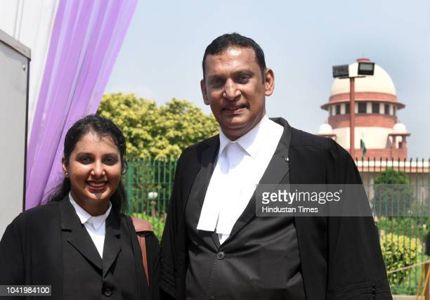 Senior lawyer Kaleeswaram Raj and Thulasi K Raj after the Supreme Court verdict on adultery law on September 27 2018 in New Delhi India The Supreme...