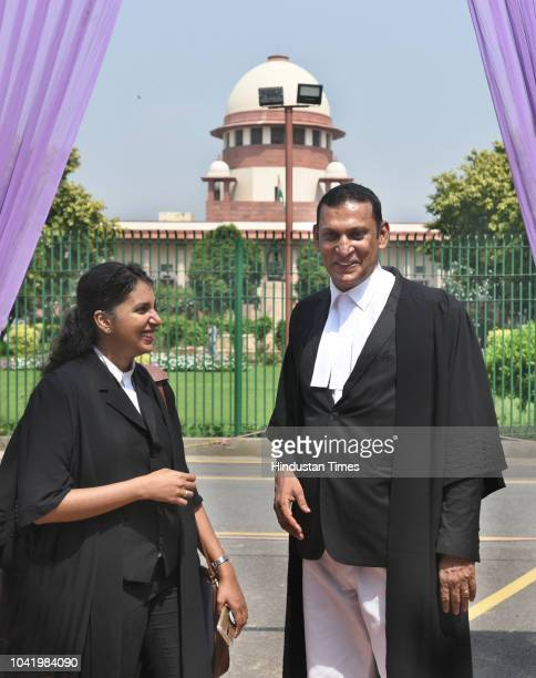 Senior lawyer Kaleeswaram Raj and Thulasi K Raj leave after the Supreme Court verdict on adultery law on September 27 2018 in New Delhi India The...