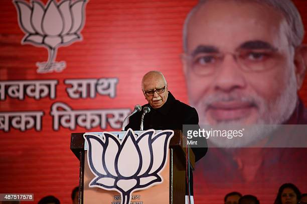 BJP senior leader LK Advani speaks during the party's national council meeting at Ramlila ground on January 19 2014 in New Delhi India