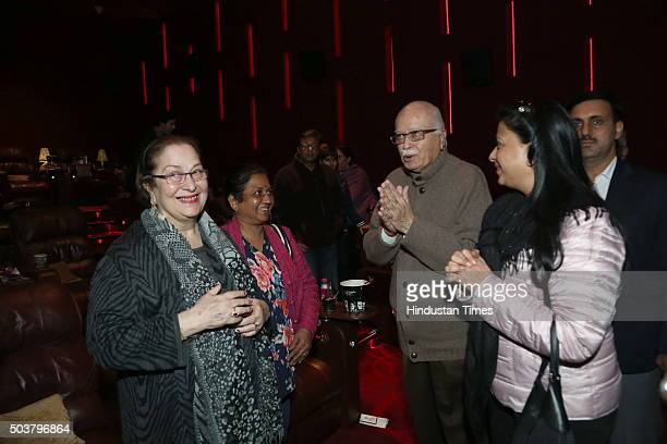 BJP senior leader LK Advani with daughter Pratibha Advani and Ritu Nanda during the special screening of movie Wazir on January 4 2016 in New Delhi...