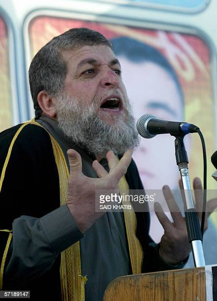Senior leader of the Islamic Jihad movement Nafez Azam gives a speech during a rally in Khan Yunis in the southern Gaza Strip 03 March 2006 An...