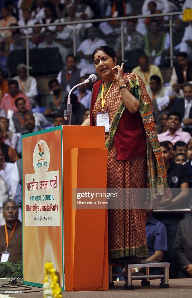 BJP Senior leader Sushma Swaraj addressing during the last day of the Party National Council Meeting on March 3, 2013 in New Delhi, India. Party meeting, which is aimed at strategising for the upcoming assembly and general elections as also looking at a reorganisation of the party structure.