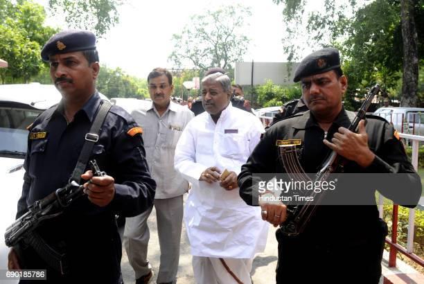 BJP senior leader Vinay Katiyar reaches at VVIP guest house on May 30 2017 in Lucknow India Senior BJP leaders LK Advani Union Minister Uma Bharti...