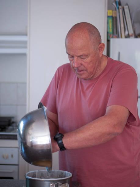 senior making a cake