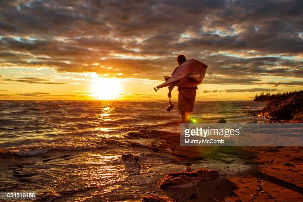 senior male carrying kayak silhouetted by amazing sunset - murray mccomb stock pictures, royalty-free photos & images