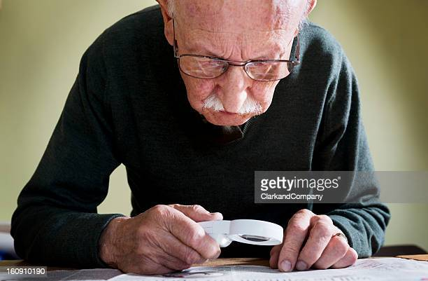 senior male with macular degeneration - decline stock pictures, royalty-free photos & images