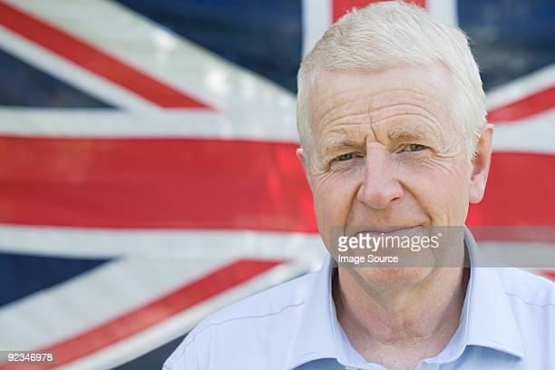 Senior man and british flag