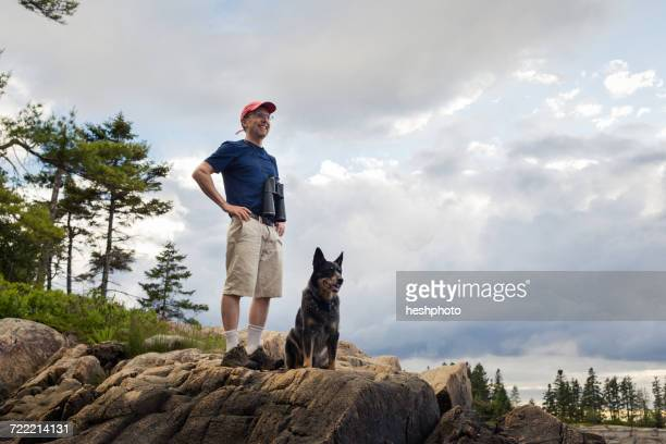 senior man and dog looking out to coast of maine, usa - americas next top dog stock pictures, royalty-free photos & images