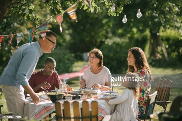 senior man and granddaughter talking while having lunch with family in backyard during party - lunch stock pictures, royalty-free photos & images
