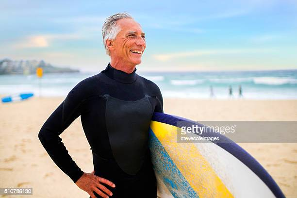 Senior Man and Surf Board
