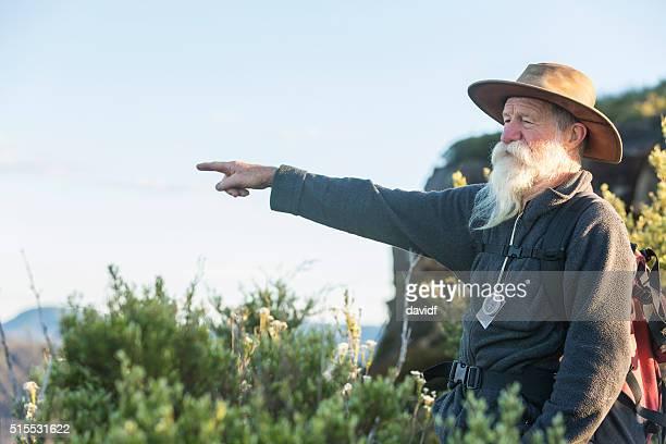 Senior Man Bushwalking in the Blue Mountains near Sydney Australia