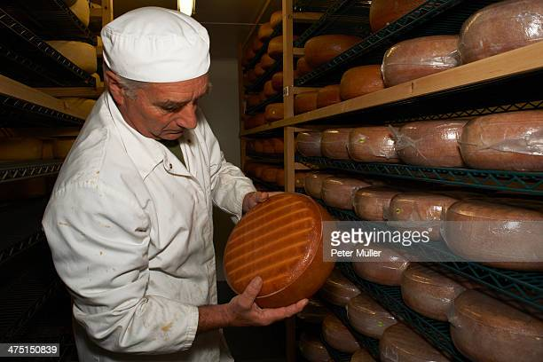 Senior man checking cheese round at farm factory