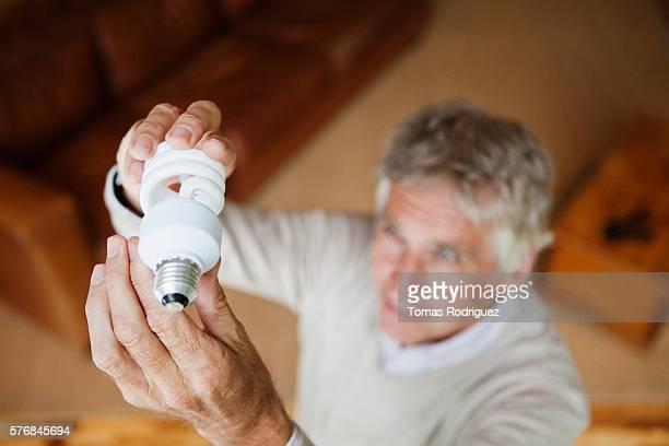 Senior man checking energy