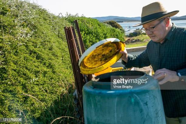 Senior man composting at home