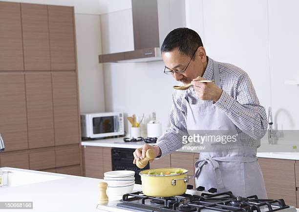 Senior man cooking