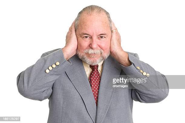 Senior Man Covering Ears