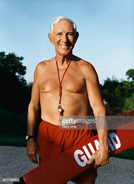 Senior Man Dressed as a Life Guard
