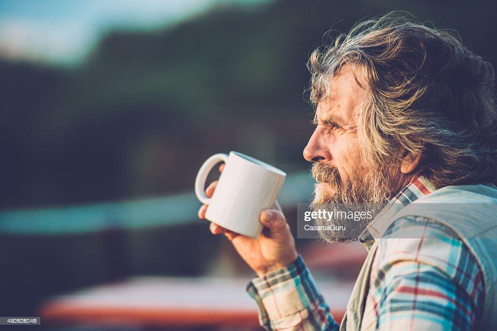 Senior Mann Wandern : Stock-Foto