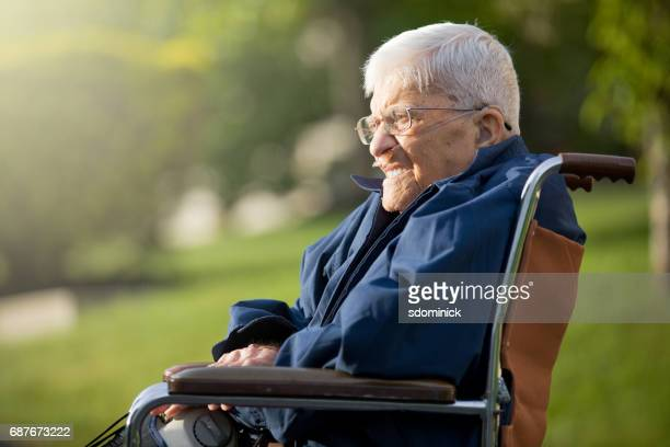 senior man enjoying sunshine - copd stock photos and pictures
