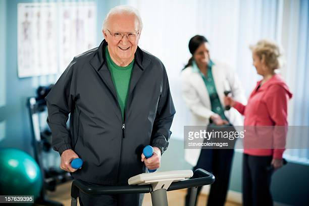 Senior Man Exercising on a Treadmill