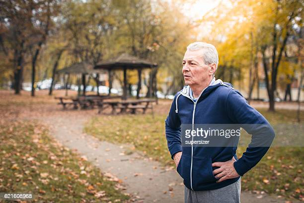 Senior man exercizing outdoors