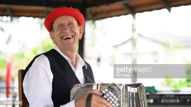 senior man german descent playing accordion at blumenau, santa catarina, brazil - traditional clothing stock pictures, royalty-free photos & images