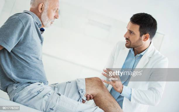 Senior man having medical exam.