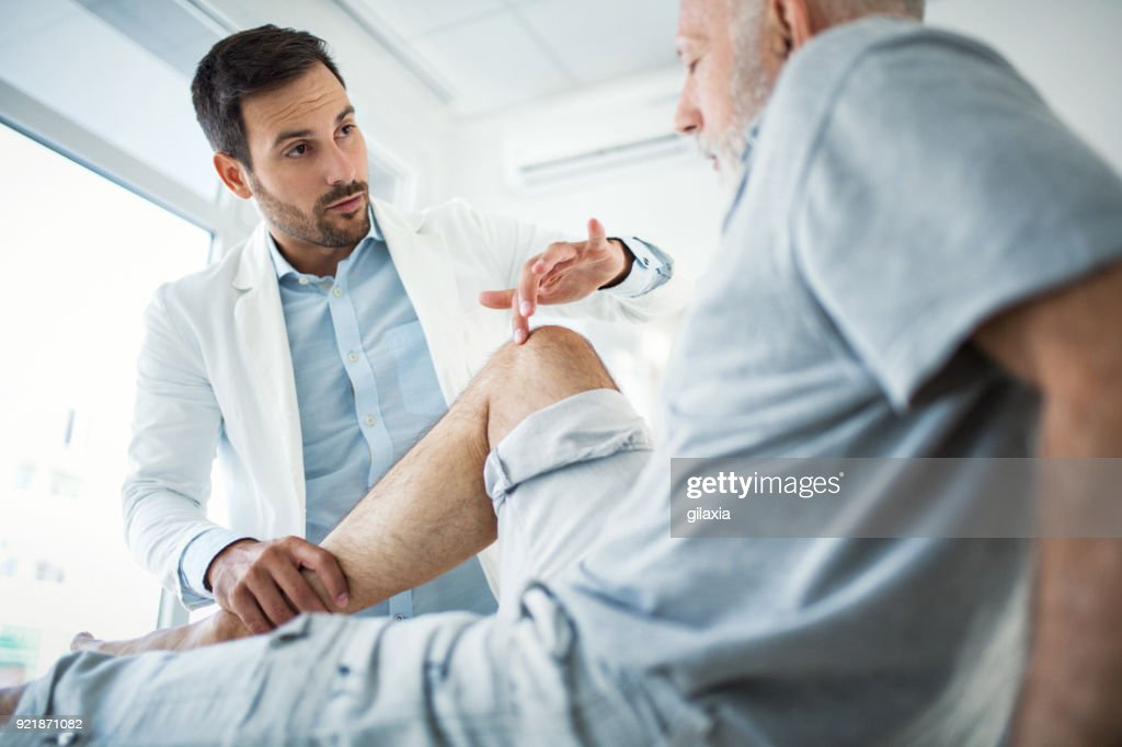 Senior man having medical exam. : Stock Photo