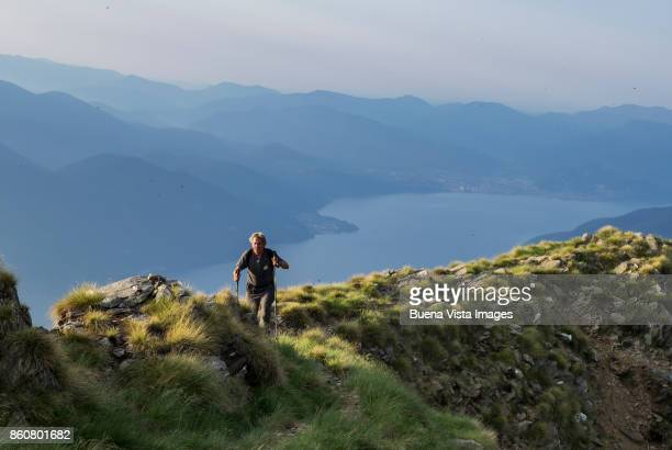 Senior man hiking in mountains