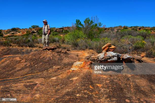 Senior man hiking  in the Cederberg Mountain area, South Africa