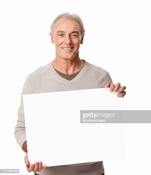 Senior Man Holding a Blank Sign - isolated