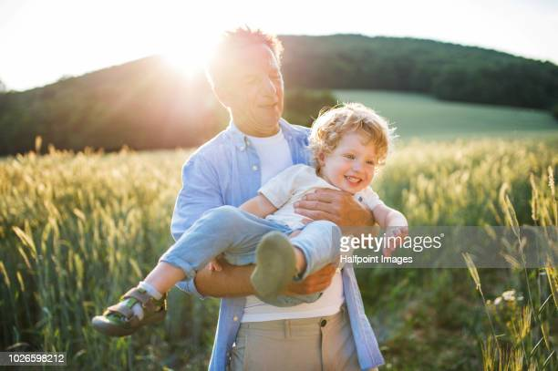 a senior man holding a toddler boy in nature at sunset. summer time. - grandson stock pictures, royalty-free photos & images