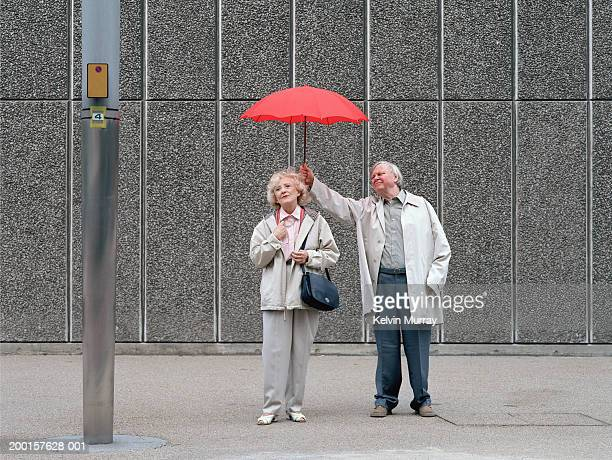 senior man holding red umbrella over woman, standing on pavement - 分かち合い ストックフォトと画像
